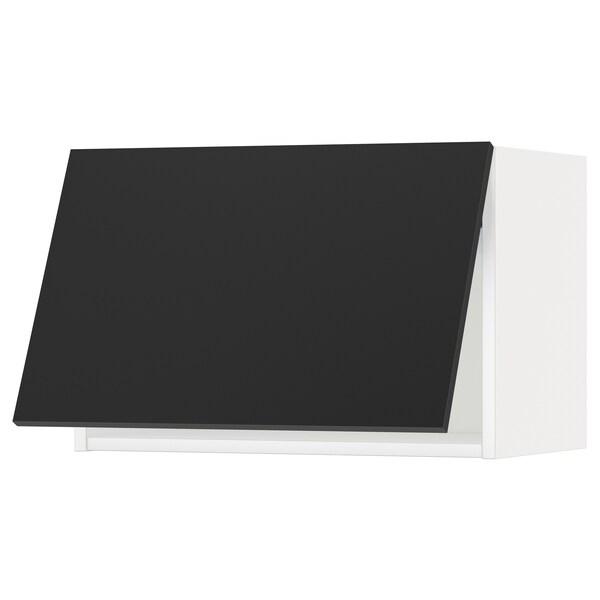METOD Wall cabinet horizontal w push-open, white/Uddevalla anthracite, 60x37x40 cm