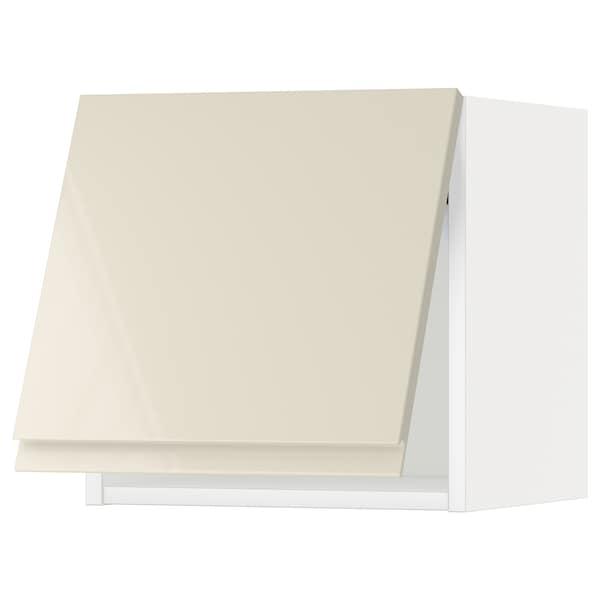 METOD Wall cabinet horizontal w push-open, white/Voxtorp high-gloss light beige, 40x37x40 cm