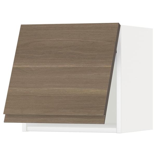 METOD Wall cabinet horizontal w push-open, white/Voxtorp walnut effect, 40x37x40 cm