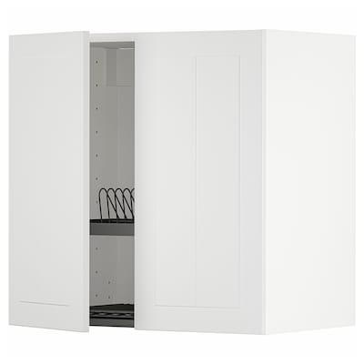 METOD Wall cabinet w dish drainer/2 doors, white/Stensund white, 60x37x60 cm