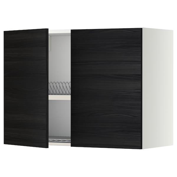 METOD Wall cabinet w dish drainer/2 doors, white/Tingsryd black, 80x37x60 cm