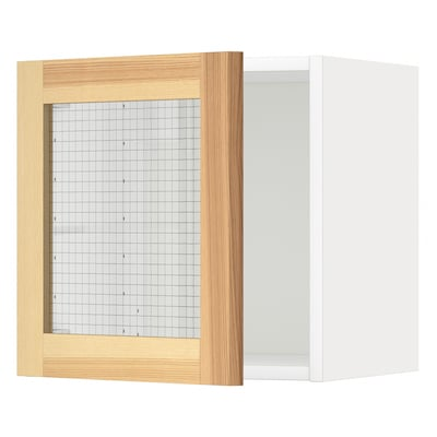 METOD Wall cabinet with glass door, white/Torhamn ash, 40x37x40 cm
