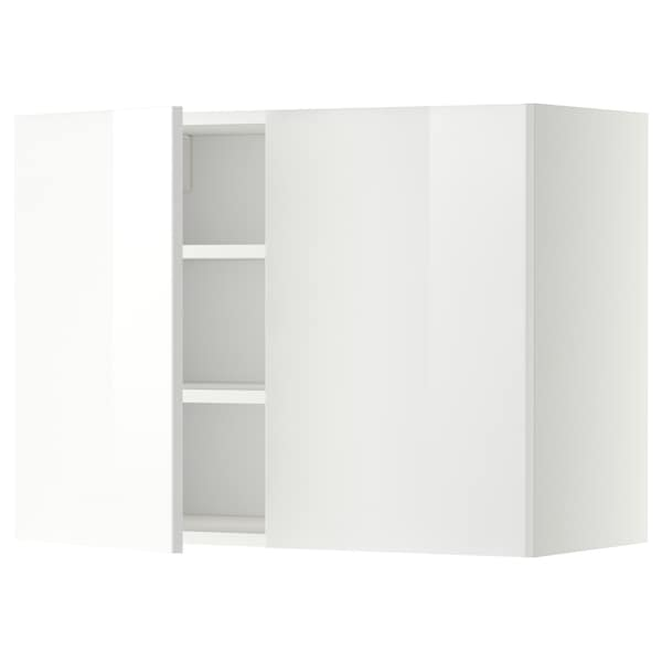 METOD Wall cabinet with shelves/2 doors, white/Ringhult white, 80x37x60 cm