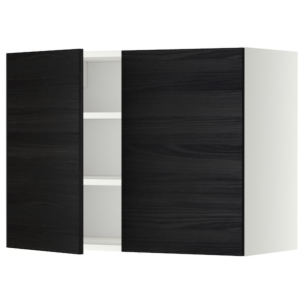 METOD Wall cabinet with shelves/2 doors, white/Tingsryd black, 80x37x60 cm