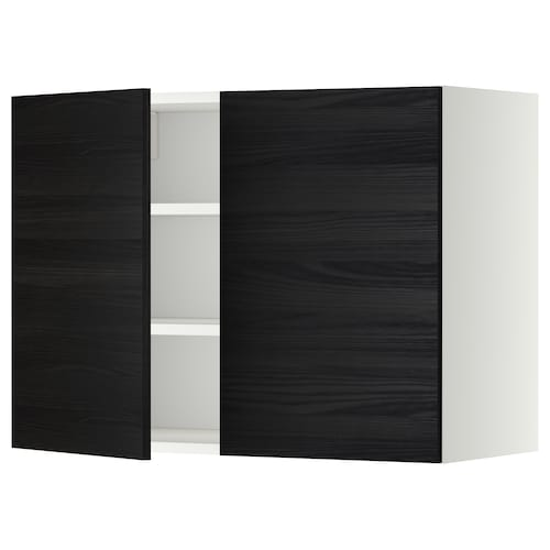 METOD wall cabinet with shelves/2 doors white/Tingsryd black 80.0 cm 37 cm 38.6 cm 60.0 cm