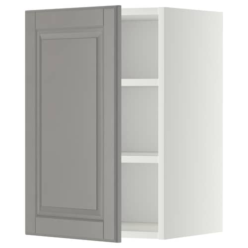 METOD wall cabinet with shelves white/Bodbyn grey 40.0 cm 37 cm 38.9 cm 60.0 cm