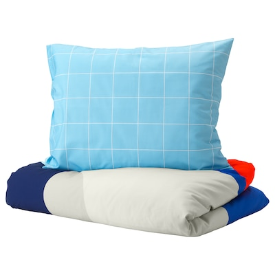 MÖJLIGHET Quilt cover and pillowcase, blue/graphical patterned, 150x200/50x80 cm