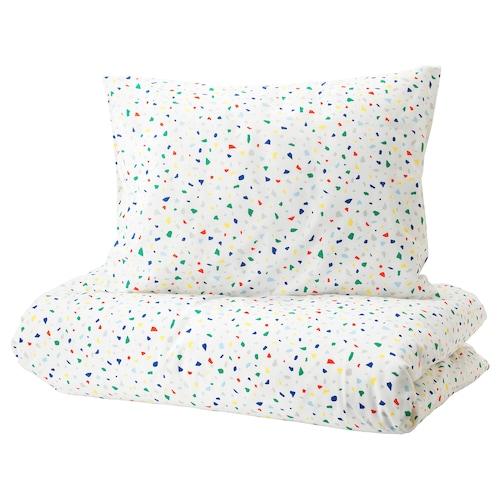 MÖJLIGHET quilt cover and pillowcase white/mosaic patterned 200 cm 150 cm 50 cm 80 cm