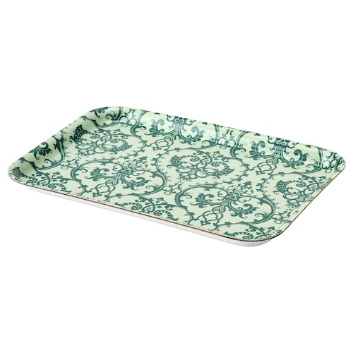 MUSTIGHET tray patterned/green 28 cm 20 cm