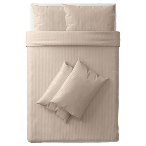 NATTJASMIN quilt cover and 4 pillowcases light beige 310 /inch² 4 pieces 200 cm 200 cm 50 cm 80 cm
