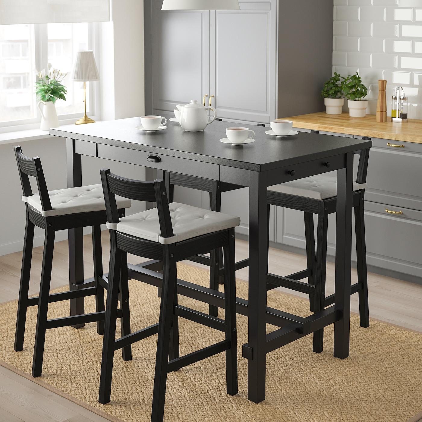 NORDVIKEN / NORDVIKEN Bar table and 9 bar stools   black/black