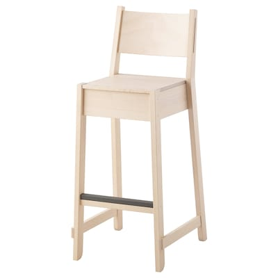 NORRÅKER Bar stool with backrest, birch, 74 cm