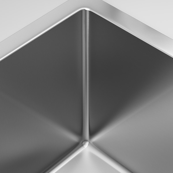 NORRSJÖN Inset sink, 1 bowl, stainless steel, 37x44 cm