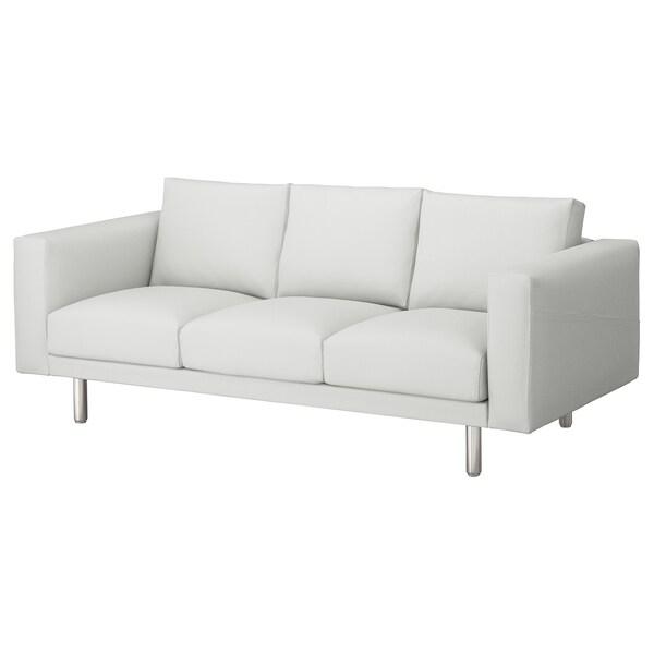 NORSBORG 3-seat sofa, Finnsta white/metal