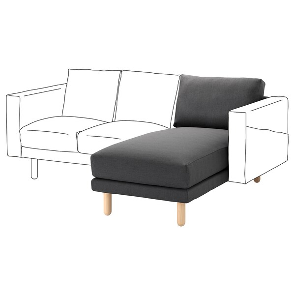 NORSBORG Chaise longue section, Finnsta dark grey/birch