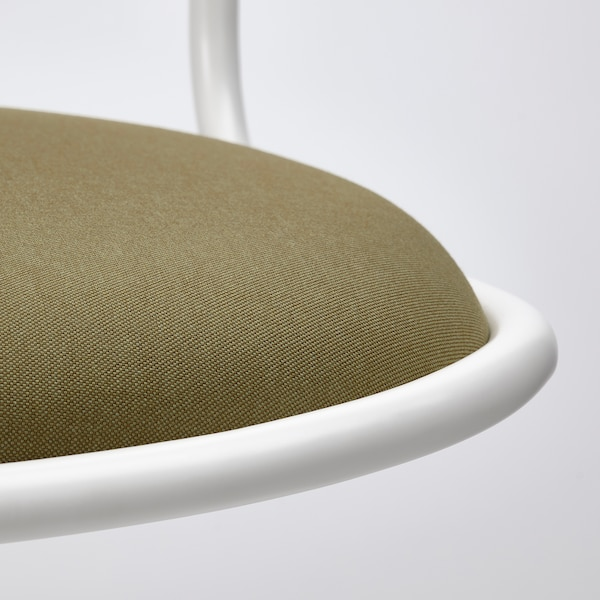 ÖRFJÄLL Swivel chair, white/Vissle yellow-green