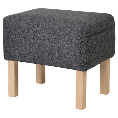 OMTÄNKSAM Footstool, Gunnared dark grey