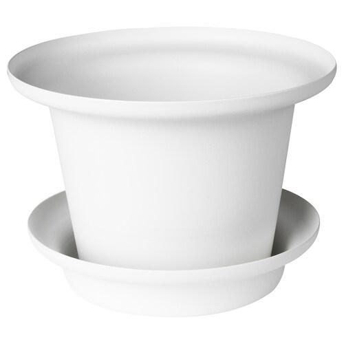 OMTÄNKSAM plant pot with saucer white 11 cm 16 cm 10.5 cm