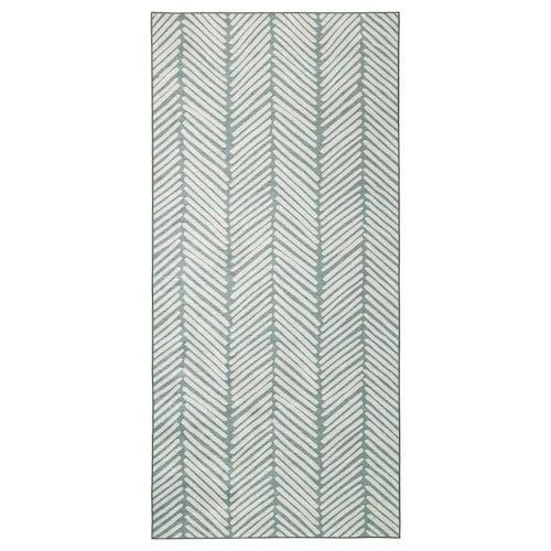 OMTÄNKSAM rug, flatwoven green/light grey 200 cm 90 cm 1.80 m²