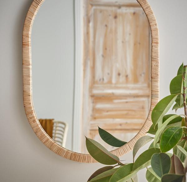OPPHEM Mirror, rattan, 54x77 cm