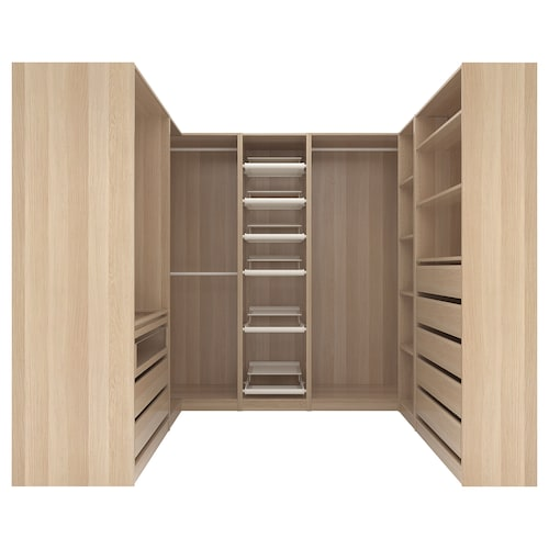 PAX corner wardrobe white stained oak effect 273.2 cm 201.2 cm 210.3 cm 210.3 cm