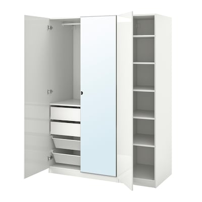 PAX / FARDAL/VIKEDAL Wardrobe combination, high-gloss white/mirror glass, 150x60x201 cm