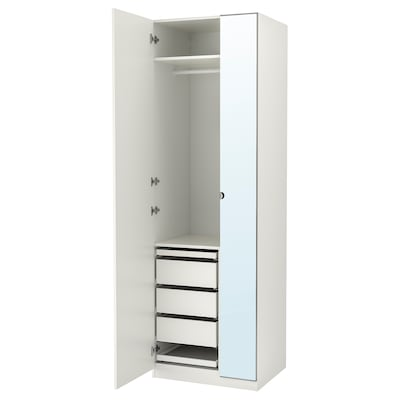 PAX / FORSAND/VIKEDAL Wardrobe combination, white/mirror glass, 75x60x236 cm