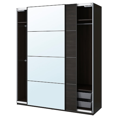 PAX / MEHAMN/AULI Wardrobe combination, black-brown/mirror glass, 200x66x236 cm
