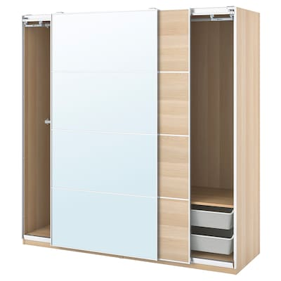 PAX / MEHAMN/AULI Wardrobe combination, white stained oak effect/mirror glass, 200x66x201 cm
