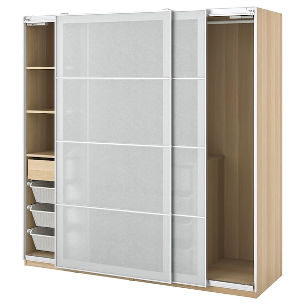 PAX / SVARTISDAL Wardrobe combination, white stained oak effect/white paper effect, 200x66x201 cm