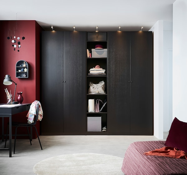 PAX Wardrobe, black-brown/Forsand black-brown stained ash effect, 250x60x236 cm