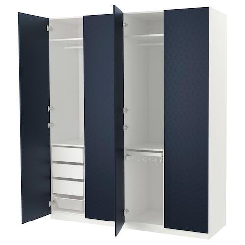 PAX wardrobe white/Hamnås black-blue 200 cm 60 cm 236.4 cm