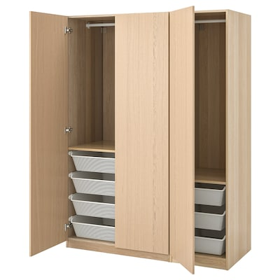 PAX Wardrobe, white stained oak effect/Forsand white stained oak effect, 150x60x201 cm