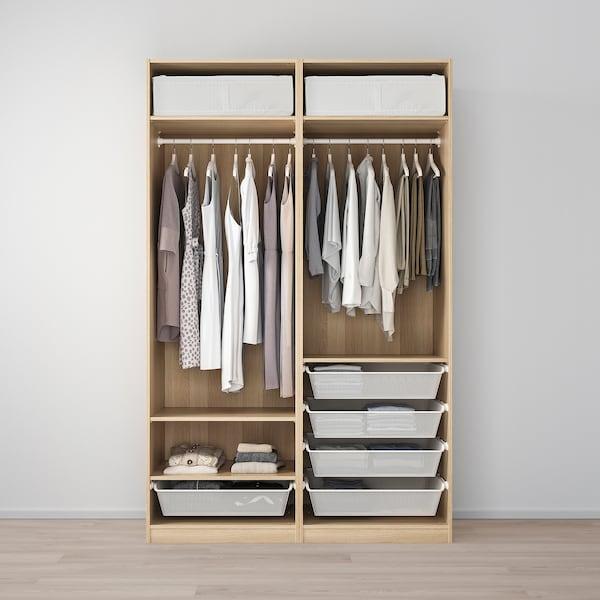 PAX Wardrobe, white stained oak effect/Mehamn white stained oak effect, 150x66x236 cm