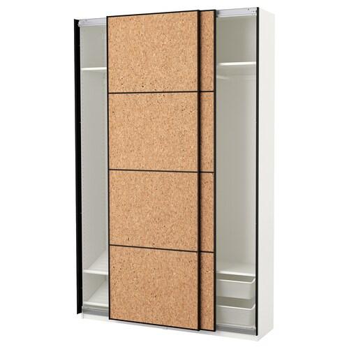 PAX wardrobe white/Kirkenes cork veneer 150 cm 44 cm 236.4 cm