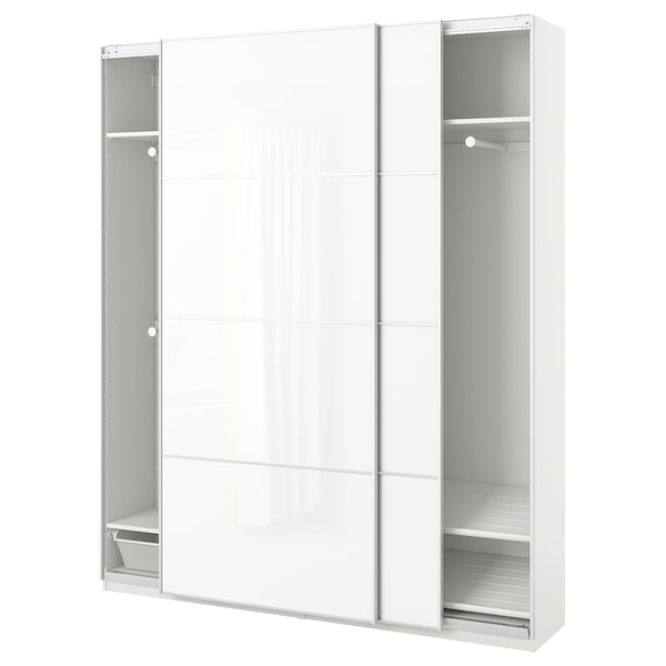 PAX wardrobe white/Färvik white glass 200 cm 44 cm 236.4 cm