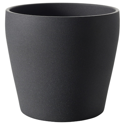 PERSILLADE Plant pot, dark grey, 12 cm