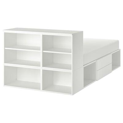 PLATSA Bed frame with 2 drawers, white/Fonnes, 142x244x103 cm