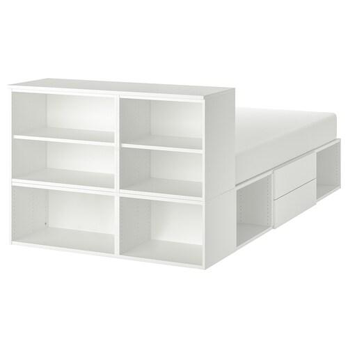 PLATSA bed frame with 2 drawers white/Fonnes 40 cm 243.9 cm 141.7 cm 43 cm 102.6 cm 200 cm 140 cm