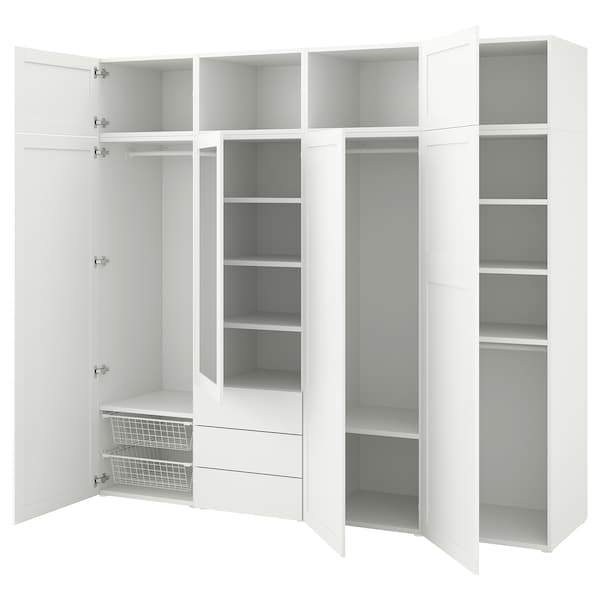 PLATSA Wardrobe with 7 doors+3 drawers, white/Sannidal Ridabu, 240x57x221 cm