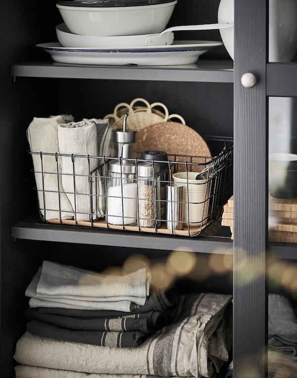 PLEJA Wire basket with handle, black, 36x27x15 cm