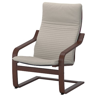 POÄNG Armchair, brown/Knisa light beige