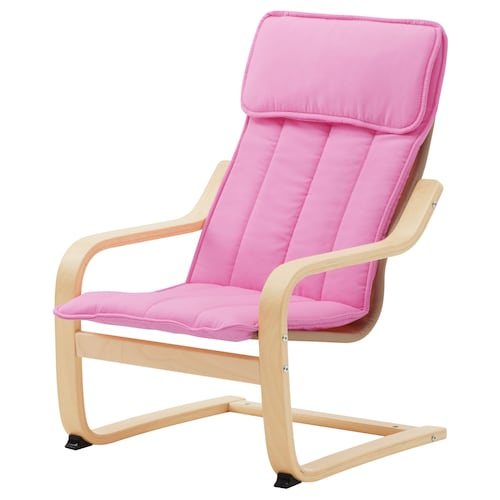POÄNG children's armchair birch veneer/Almås pink 47 cm 60 cm 68 cm 38 cm 36 cm 25 cm