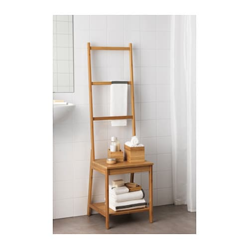 RÅGRUND Towel rack chair   Helps to save space because you get both a chair and a towel rack on the same area.