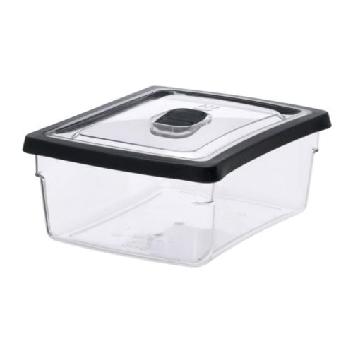 RARITET Food container   Does not discolour from tomato sauce, etc.  Vent in the lid ensures effective warming in the microwave.