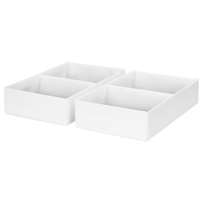 RASSLA Box with compartments, white, 25x41x9 cm