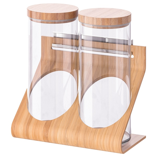 RIMFORSA Holder with containers, glass/bamboo
