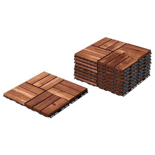 RUNNEN floor decking, outdoor brown stained 0.81 m² 30 cm 30 cm 2 cm 0.09 m² 9 pieces