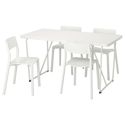 RYDEBÄCK/BACKARYD / JANINGE Table and 4 chairs, white/white, 150 cm