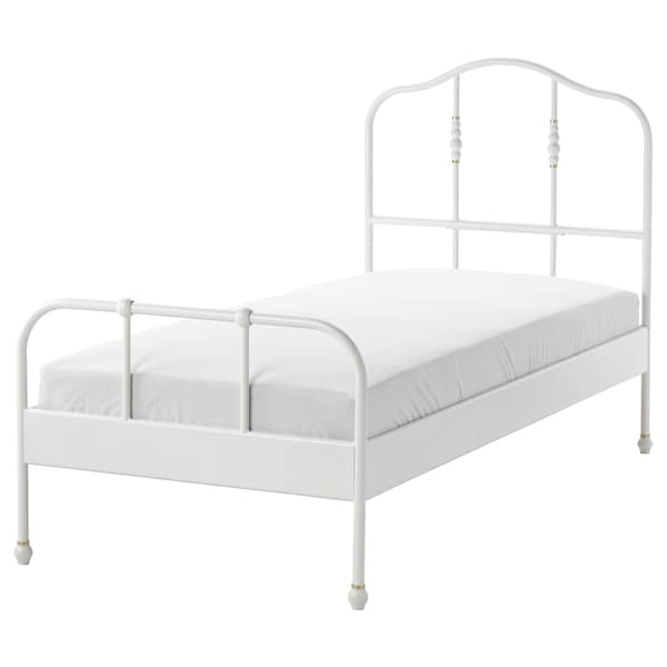 SAGSTUA Bed frame, white/Lönset, 90x200 cm